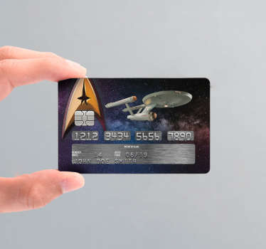 Pay tribute to Star Trek with this fantastic credit card sticker, depicting one of the ships in full flight! Choose your size.