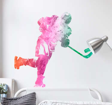 Decorate your bedroom - or any part of your home - with this fantastic watercolour wall sticker, depicting a hockey player! Anti-bubble vinyl.