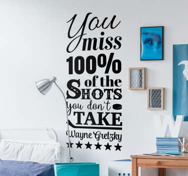Pay tribute to one of the most iconic quotes in sports history with this fantastic sports quote wall sticker! Anti-bubble vinyl.