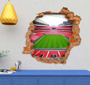 Pay tribute to Wembley Stadium with this fantastic 3D visual effects sticker, making it look as though Wembley is right outside! Choose your size.