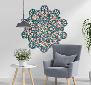 Vintage abstract decorative wall art decal design of colorful ornamental mandala for the home space and office space. Easy to apply.