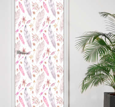 Doorstickers feathers, a marvelous idea! This feather wallsticker has beautiful colours. The feather stickers is perfect for doors! Pink wallstickers!