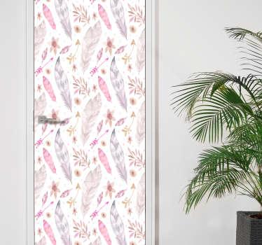 Rosa fjäder möbler klistermärke