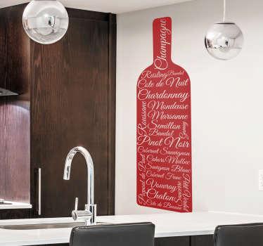 La bouteille de vin accompagnée des noms de différents alcools sur ce adhésif boisson constitue un design sympa pour tous les amateurs de spiritueux!