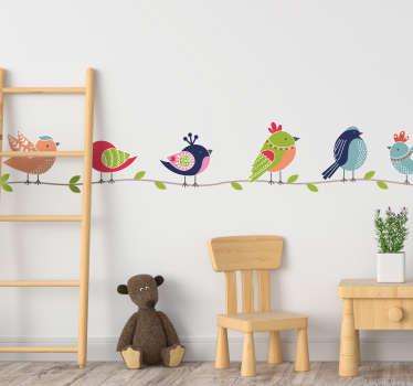 Muurstickers kinderkamer kleurrijke vogeltjes