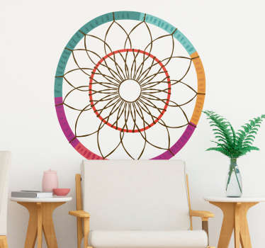 A perfect wall sticker dream catcher, ideal for the bedroom. This dream catcher wall sticker is a great gift idea as Bohemian wall decoration!