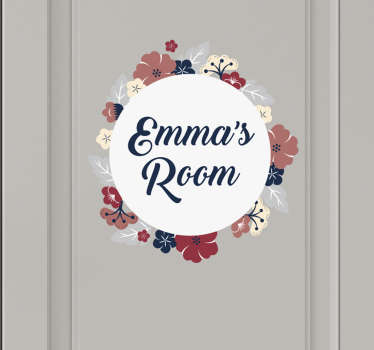 Decorate your bedroom door with this fantastic customisable, floral themed door sticker, perfect for any bedroom! Personalised stickers.
