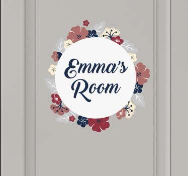 Flower Crown with Text Door Sticker