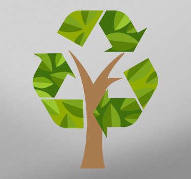 Pegatina de reciclaje para cubo de basura con un árbol y el símbolo del reciclaje perfecto para señalizar y crear conciencia ¡Envío a domicilio!
