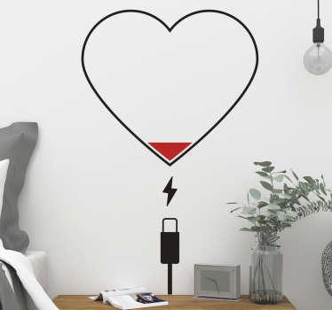Kalp şarj aşk etiketi