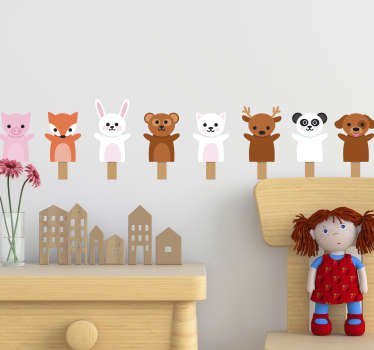 귀여운 동물들이 집 벽 스티커를 껴안다.