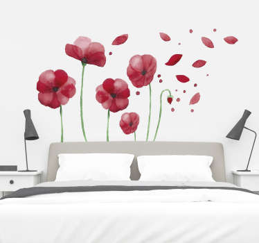 Stenske nalepke spalnica cvetovi maka