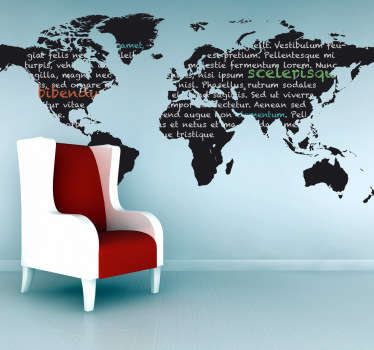 Blackboard Stickers - Wall sticker of the world map. Perfect for decorating the wall of your living room or bedroom.