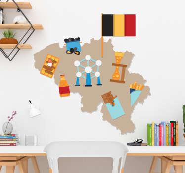 Een originele muursticker Belgie van de Vlaamse kaart sticker! Belgie kaart muursticker is origineel door de Vlaamse kaart muurstickers icons!