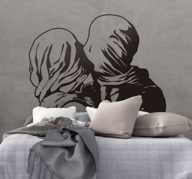 Kunstmaleri magritte los amantes hjemme klistremerke