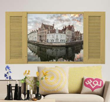 Muurstickers slaapkamer foto Brugge stad