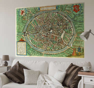 Vous aimez la ville de Bruges et son histoire riche ? Vous allez adorer ce sticker mural maison représentant une carte vintage de la ville !