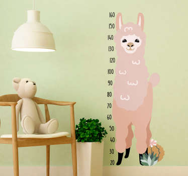 Keep track of your child´s height with this fantastic height chart wall sticker, showing a llama! Real measurements. Choose your size.