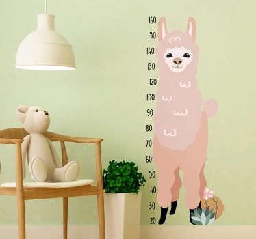 Sticker Toise Chambre Enfant Llama Mignon