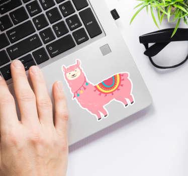 Laptop sticker roze llama