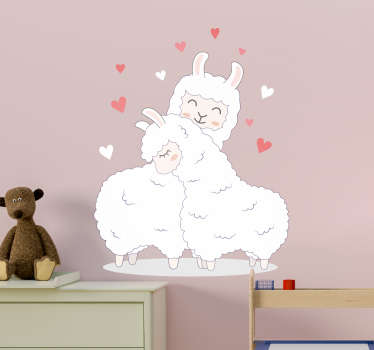 An original decorative animal wall sticker design of two llamas loving up on each other. Easy to apply and available in any required size.