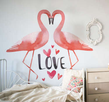Love bird wall art decal made of two flamingos kissing to form a heart shape. Lovely living room and bedroom decoration. Easy to apply and adhesive.