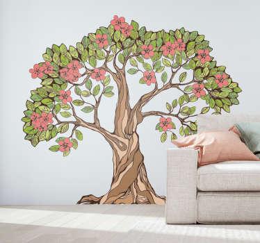 装饰树墙艺术贴纸与海滩和叶子回家。它有不同的尺寸,易于应用。
