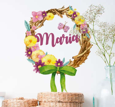 Spring Bouquet with Name Floral Wall Sticker