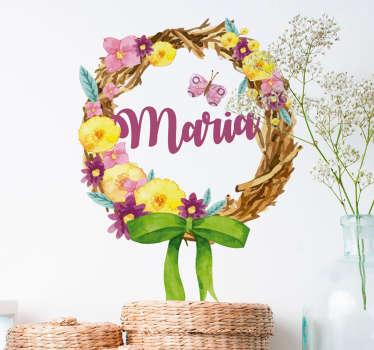 stickers fleurs Couronne de fleurs et Prénom
