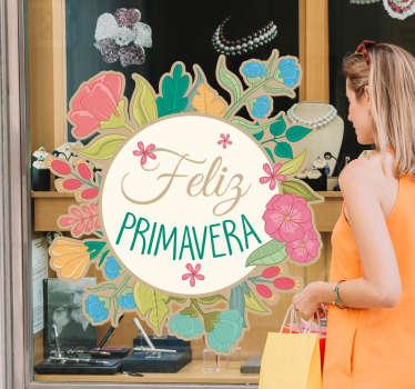 """Vinilo decorativo para escaparate o vitrina con flores de primavera y frase """"Feliz Primavera"""" para captar la atención de los clientes"""