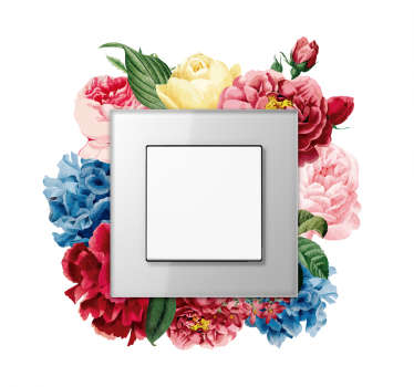 Spring flower light switch sticker to decorate the surface of switches in the home. Easy to apply and available in different sizes.