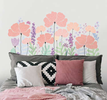 Decorative multicolored spring flower headboard wall sticker to beautify a bedroom. Easy to apply, adhesive and available in any required size.