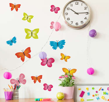 Multicolored spring butterflies wall art sticker to decorate the bedroom of children. It is self adhesive, easy to apply and available in any size.