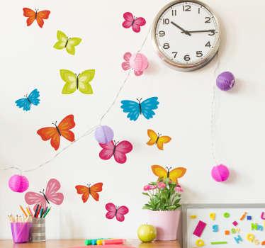 Naklejka na ścianę motyle Kolorowe motyle