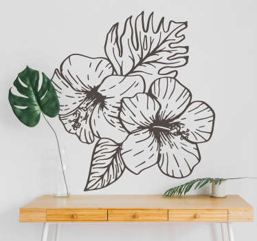 An original orchid spring flower drawing wall sticker to decorate any space of choice. Available in any required size and easy to apply.