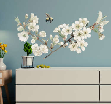 Decorative first spring flower wall art sticker with insect. Easy to apply and available in different size options. Self adhesive and durable.