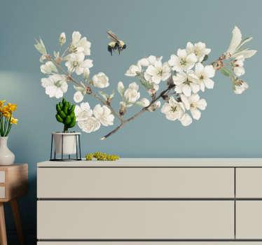 Muurstickers slaapkamer witte lentebloem