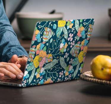 Decorative laptop sticker with colorful spring flower design. Easy to apply, self adhesive and available in any required size.