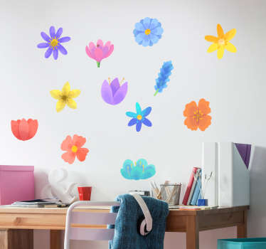 Decorative spring flower wall art decal designed in pretty colours and style patterns. Easy to apply, adhesive and available in different sizes.