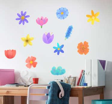 Naklejka na ścianę do domu Kolorowe kwiatki