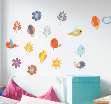 Decorative spring bird and flower wall sticker for children bedroom space. Useful for preschool, home school and play space decoration. Easy to apply.