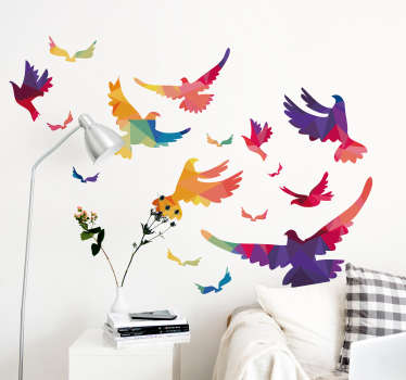 Decorative wall sticker of colorful spring bird set for home decoration. Easy to apply, self adhesive  and available in different colours.