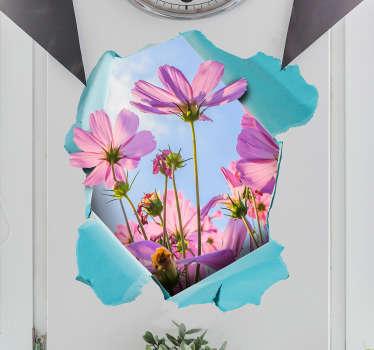 Fototapeta Kwiaty na ścianie 3D