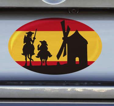 Pegatina para coche o automóvil de la bandera de España de Don Quijote con los personajes y los molinos de la Mancha ¡Envío a domicilio!