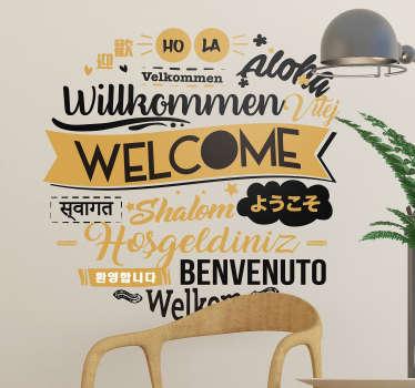 Cytat na ścianę Welcome w różnych językach