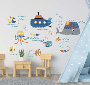 Decorative motif fish wall sticker with different under water sea animals and ship. A lovely idea for children bedroom. Easy to apply.