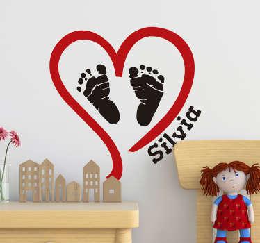 Sticker Chambre Enfant Coeur avec prénom