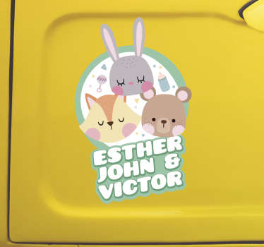 Animals with Names Baby on Board Sticker