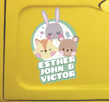 Auto stickers drie bosdieren