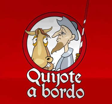 Pegatina para coche o auto de historia de España con el personaje de Don Quijote a bordo y el caballo. Fácil de colocar ¡Envío a domicilio!